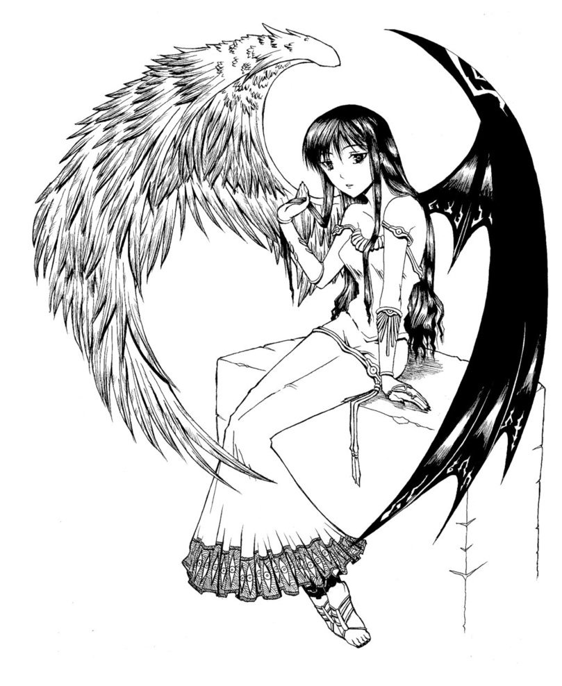 809x988 Anime Demon Wings