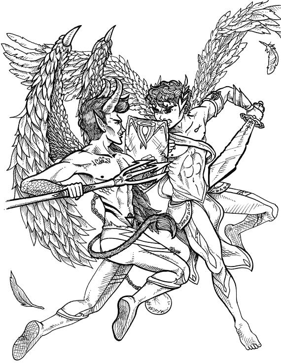 570x739 Angels And Demons Angel Vs Demon Art Angels Wall Art Demon
