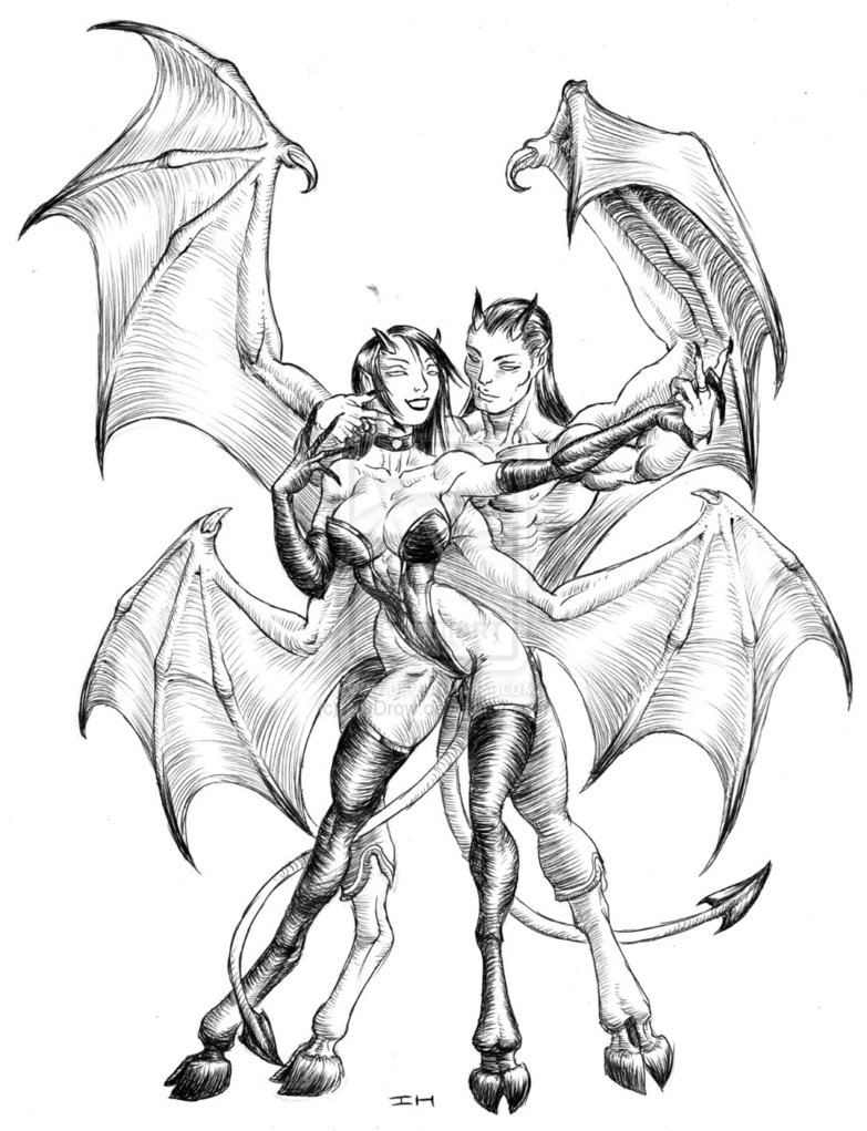 Half Angel Half Demon Drawing at GetDrawings com   Free for