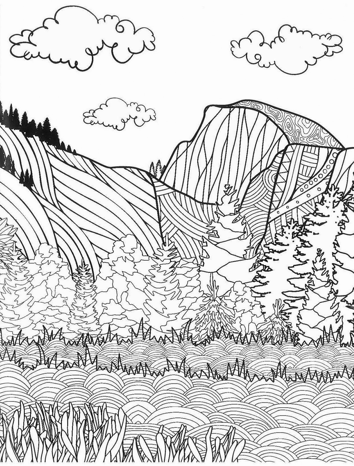 1213x1597 Half Dome Yosemite National Park Coloring Pages Cathedral Rocks