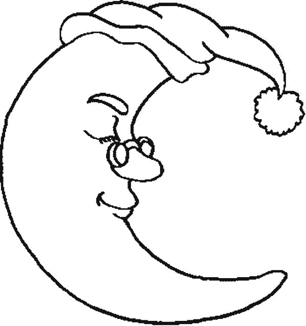 600x640 Half Moon Wearing Glassess Coloring Page Coloring Sky