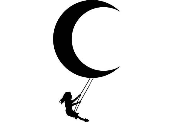 570x402 Little Girl Swinging Swing Half Moon Cresent Svg Eps Instant