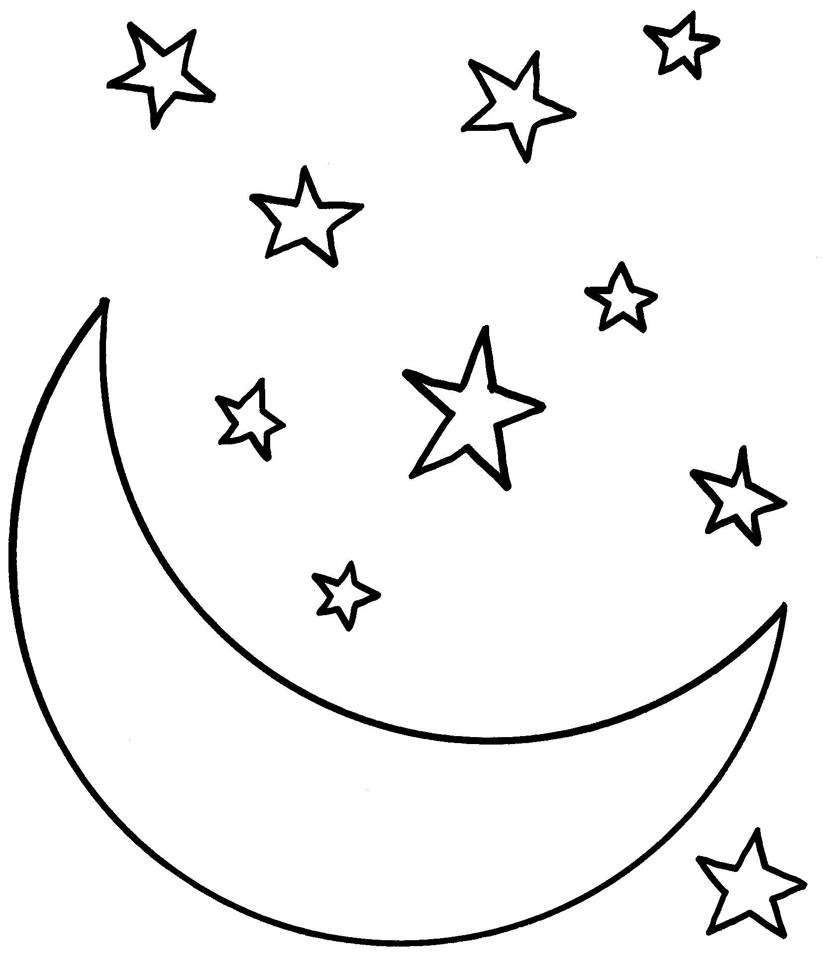 1654x1953 Moon And Stars Drawing