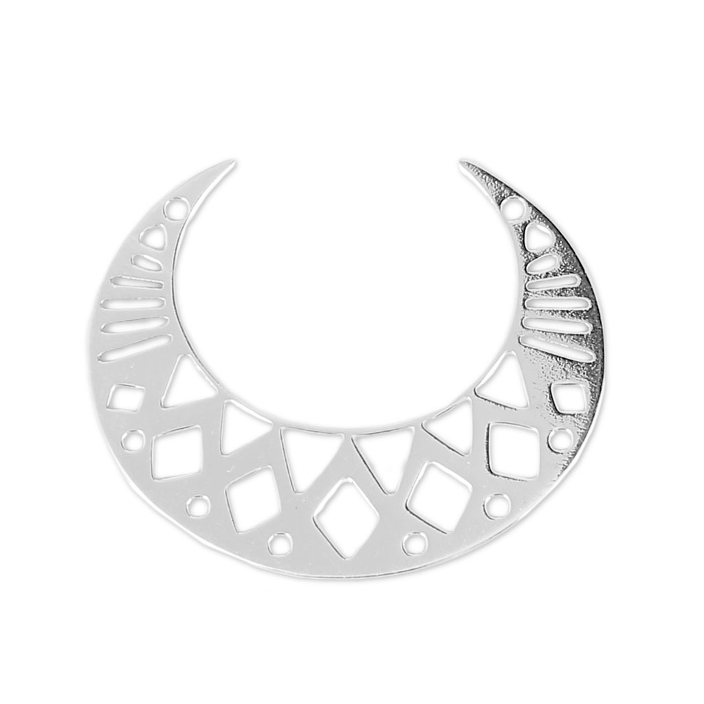 1024x1024 925 Sterling Silver Openwork Spacer Half Moon 6 Holes 25x20 Mm X1