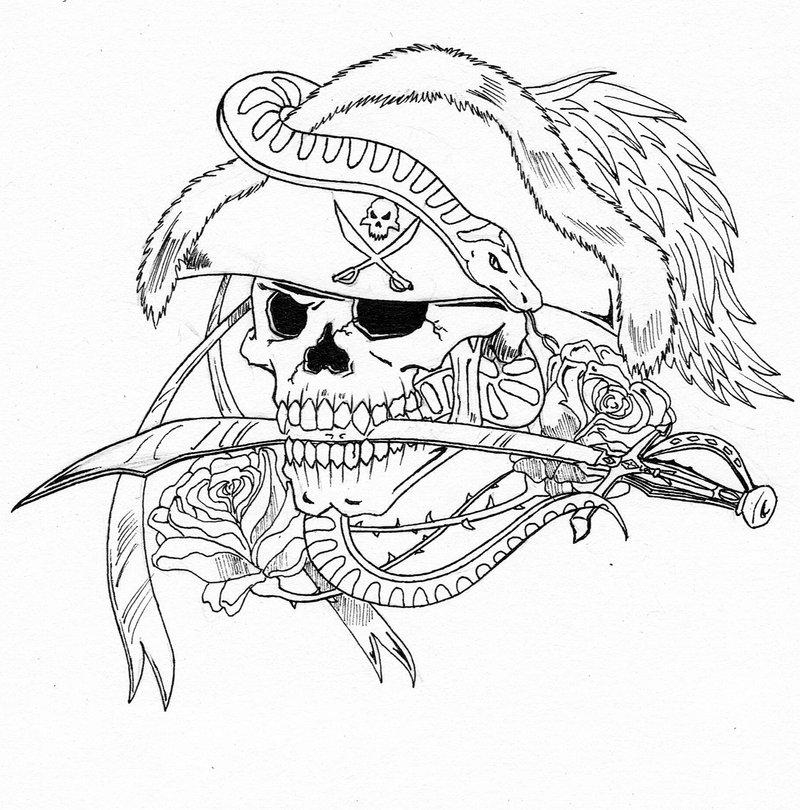 Half Skull Drawing