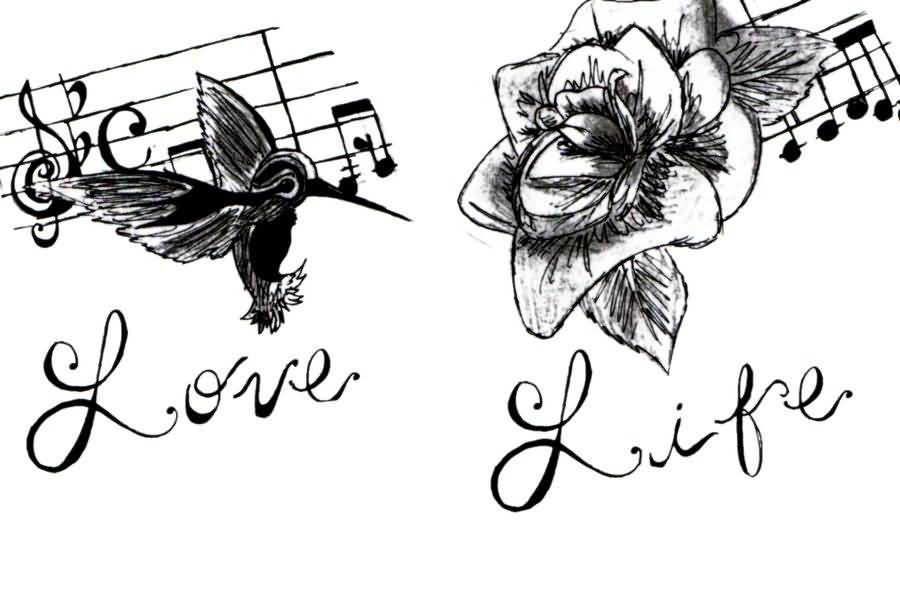 900x615 Music Love Life Tattoo Design On Paper