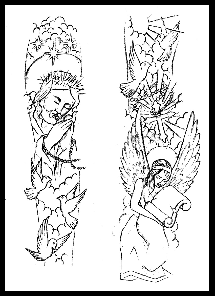 850x1169 Religious Sleeve Tattoo Design By Thirteen7s