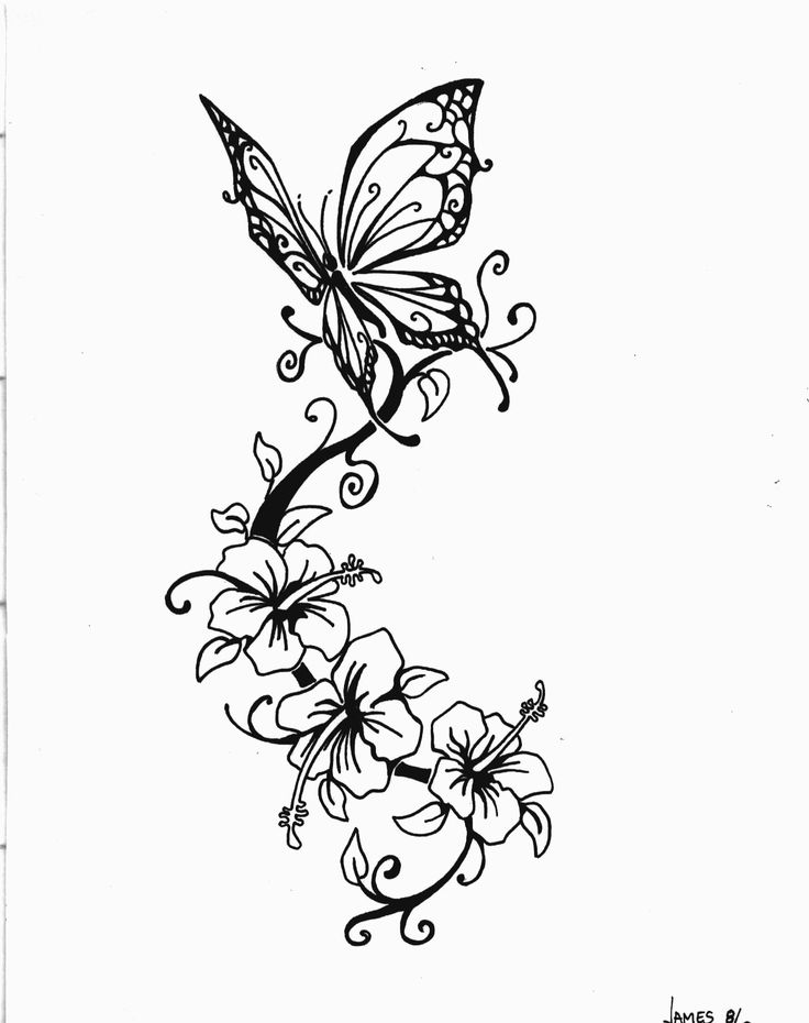 736x930 Three Lily Flowers And Butterfly Tattoo Design