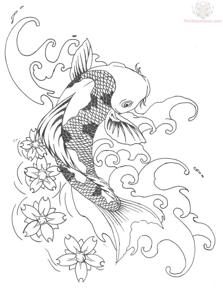 760x1050 Awesome Koi Coy Fish Tattoo Design Sketch Pic
