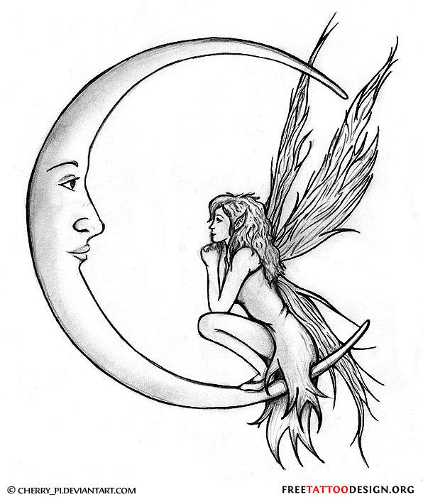 596x700 Collection Of Evil Grey Ink Moon Tattoo Design