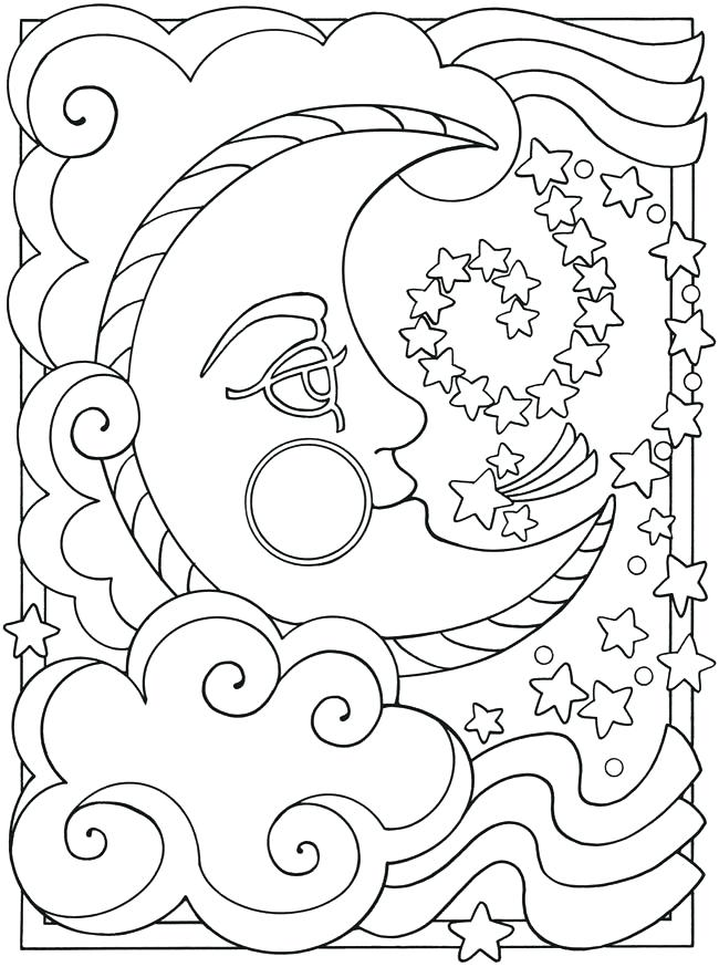650x874 Coloring Page Pages Sun And Moon Drawing G