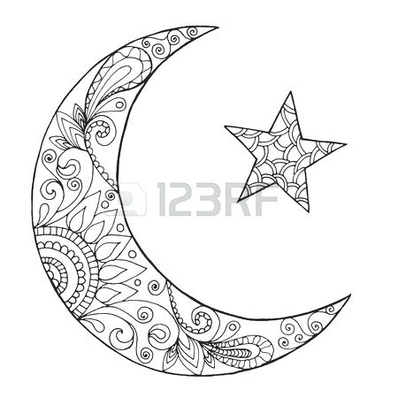 450x450 Crescent Moon Coloring Page Crescent Coloring Page Outline