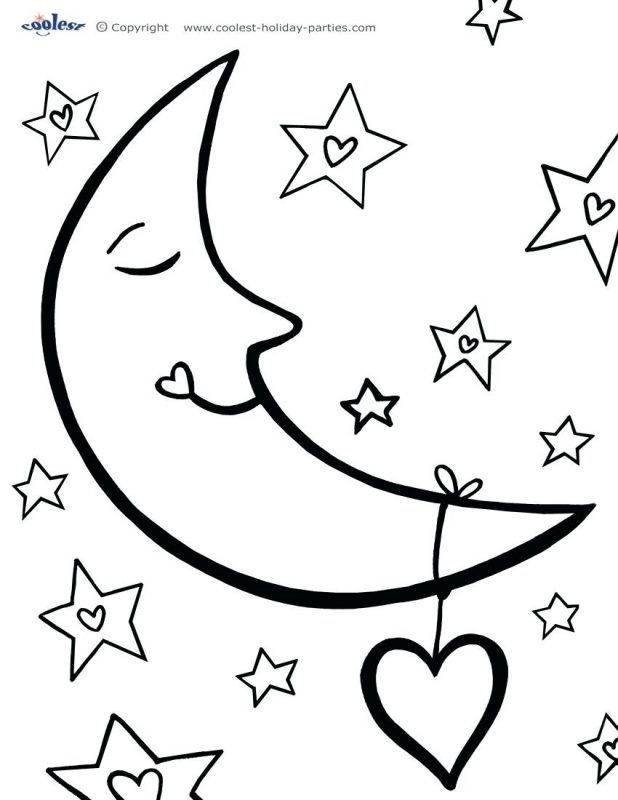 618x800 Moon And Stars Coloring Pages Cute Full Half With 118 Remarkable