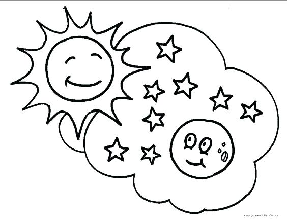 564x440 Sun And Moon Coloring Sheets Pages Free Star Page Best Goodnight