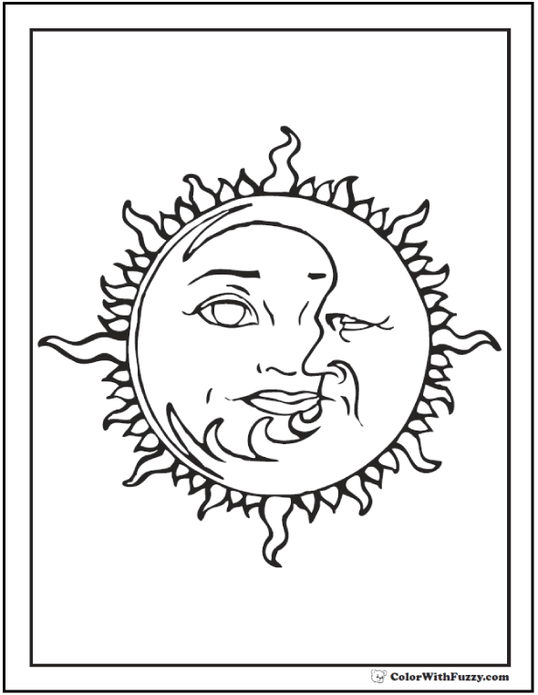 590x762 Sun Face Coloring Page Sun Coloring Pages Adults