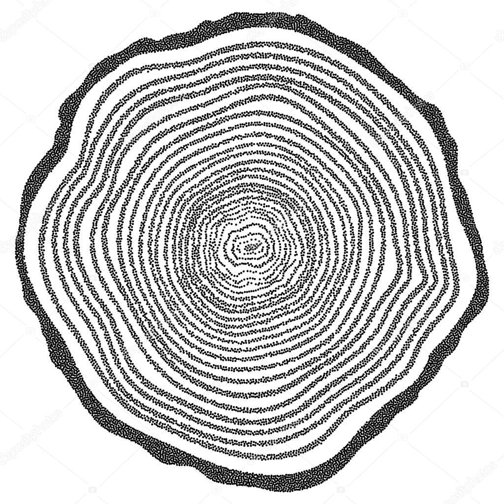 1024x1024 Dotwork Halftone Vector Tree Rings Stock Vector Newb1