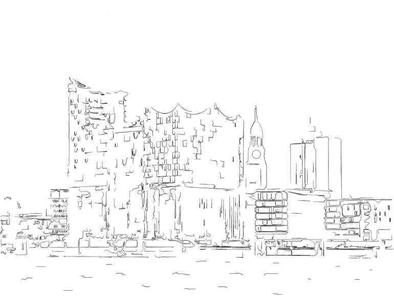 770x578 Saatchi Art Hamburg Harbour City Elbe Philharminic Hall Drawing