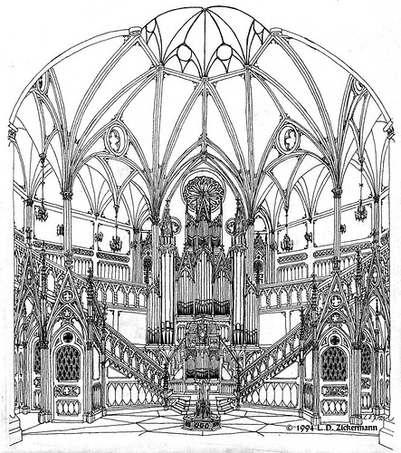 443x500 Neo Gothic Hall With Pipe Organ Gothic, Hand Drawings
