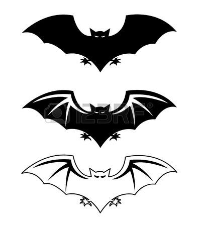 394x450 Bats Silhouettes Halloween Vector Illustration Royalty Free