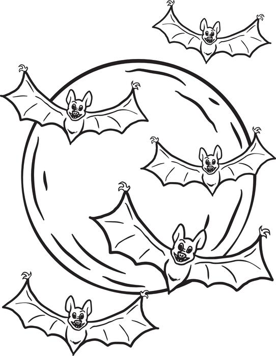 542x700 Free Printable Halloween Bats Coloring Page For Kids