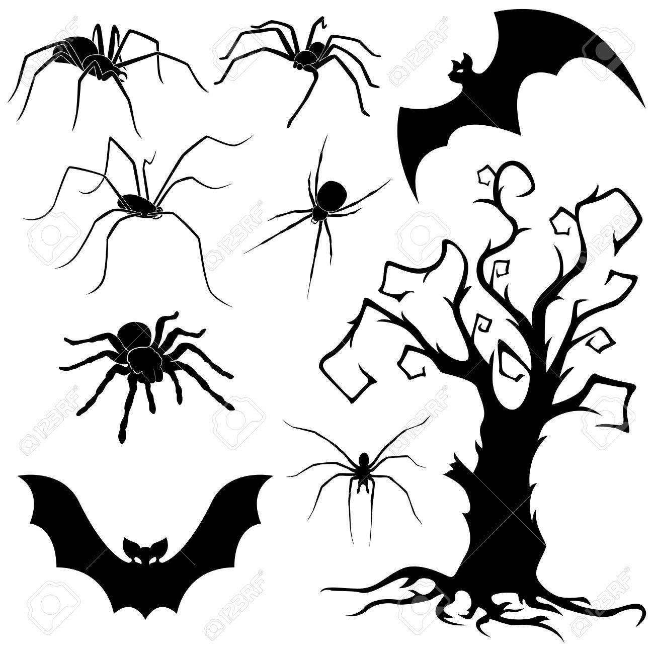 1300x1300 Halloween Silhouette Set Of Spiders, Flying Bats And Old Dried