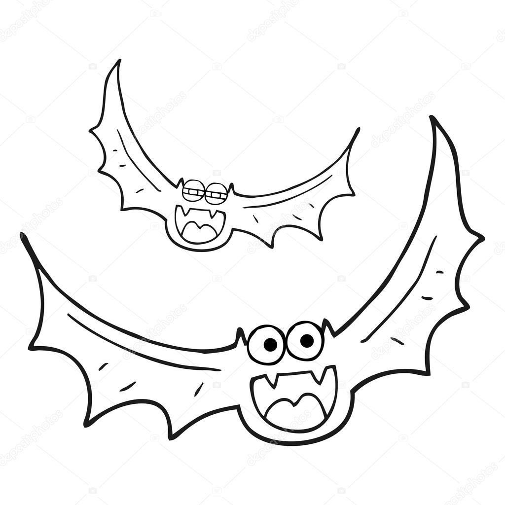 1024x1024 Black And White Cartoon Halloween Bats Stock Vector