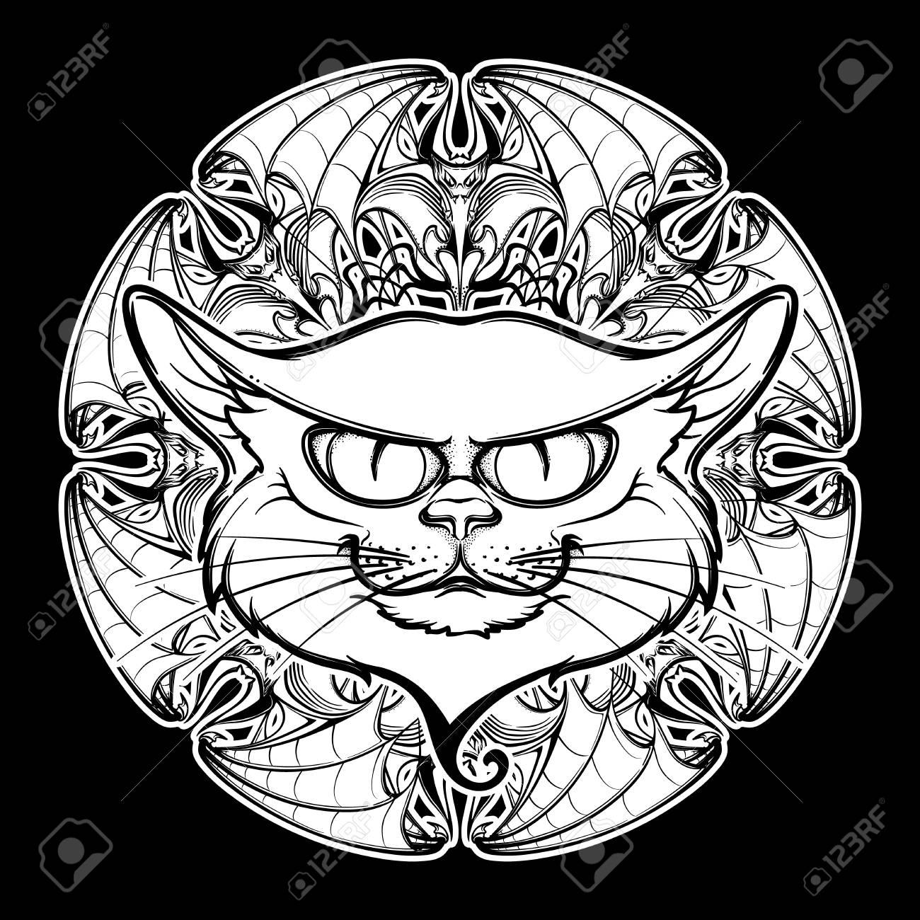 1300x1300 Halloween Illustration With Black Cat Head On Circular Ornament