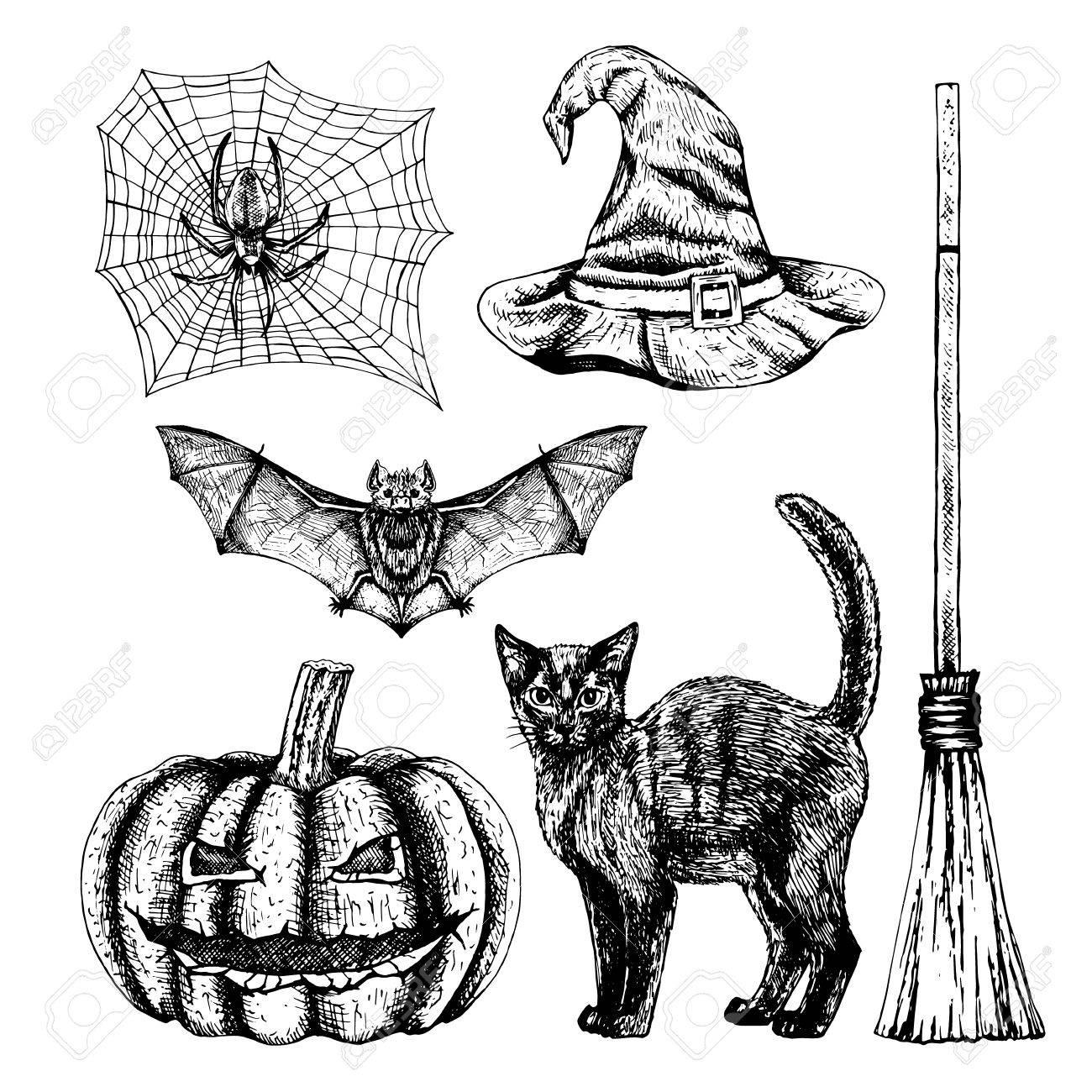 1300x1300 Hand Drawn Halloween Set. Sketches Of Bat Spider Web Witch Hat