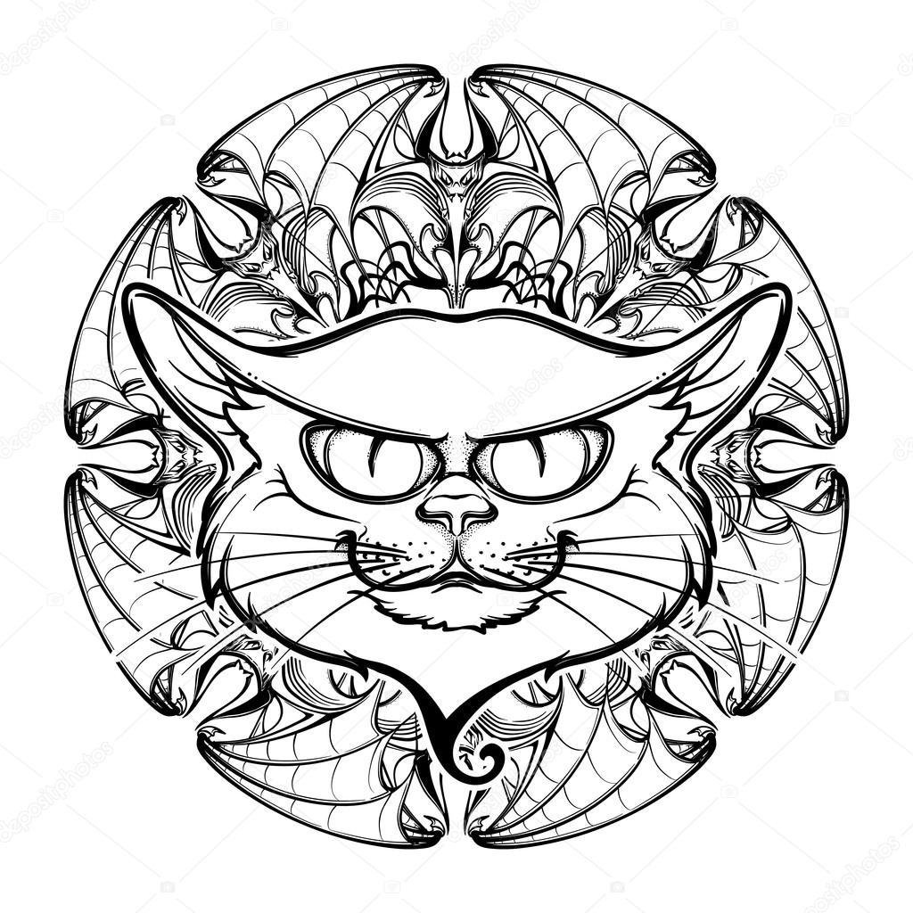 1024x1024 Black Cat Head On Circular Bat Wings Ornament Stock Vector