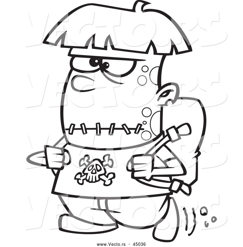 1024x1044 vector of a cartoon frankenstein kid walking to school on - Halloween Drawing For Kids