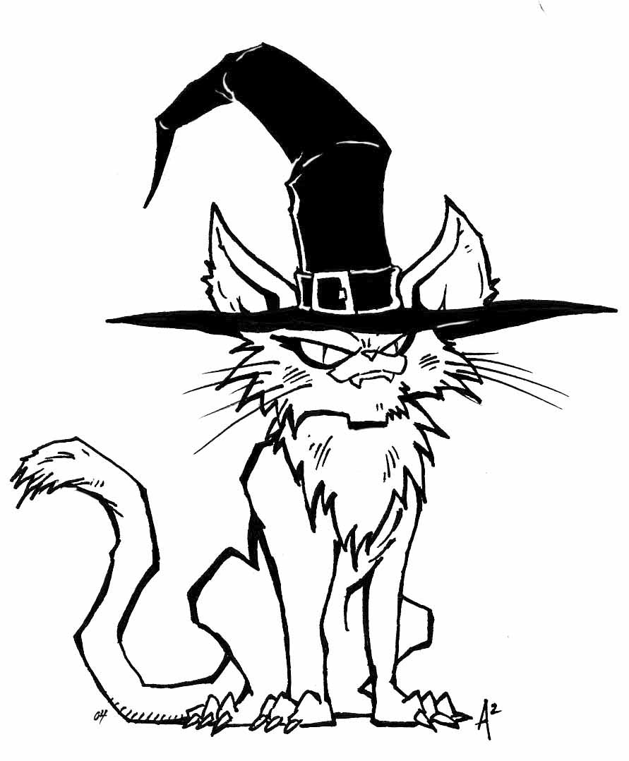 891x1078 Halloween Witch Cat By Archermonster