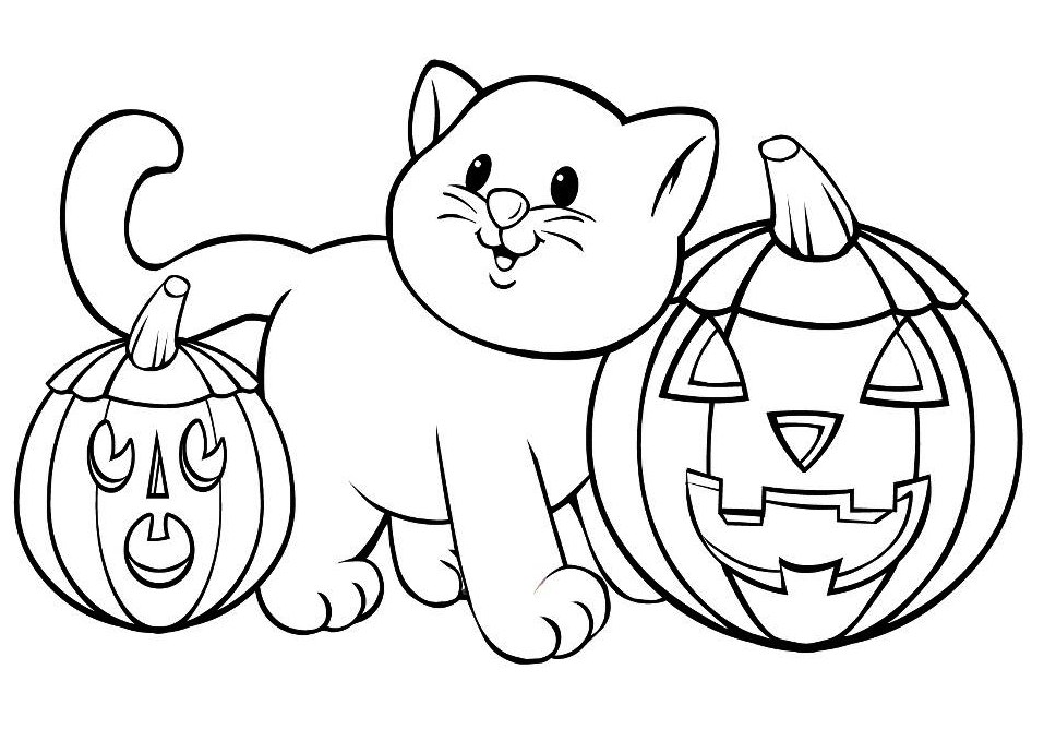 957x668 Cat Amp Pumpkins Free Coloring Page Animals, Halloween, Kids