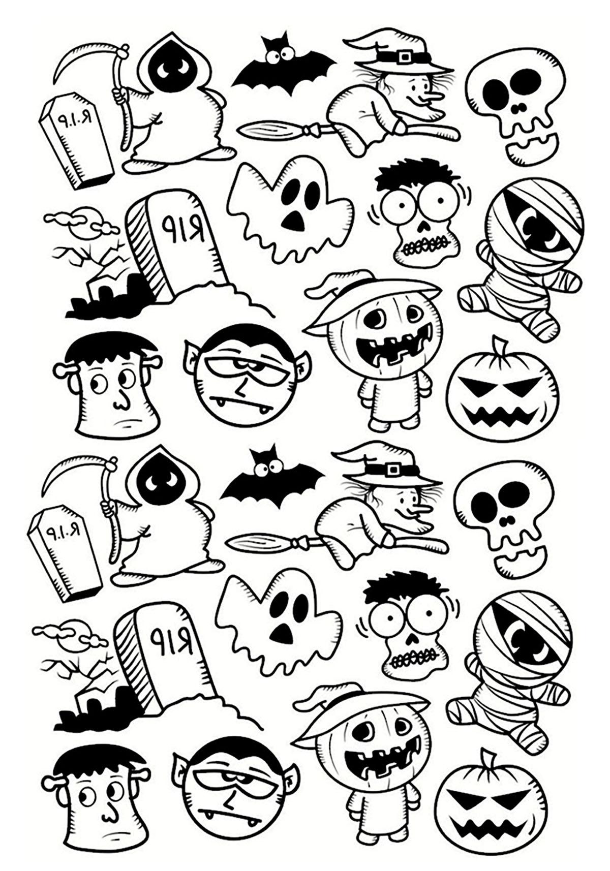 1200x1714 Halloween Doodle Characters Halloween