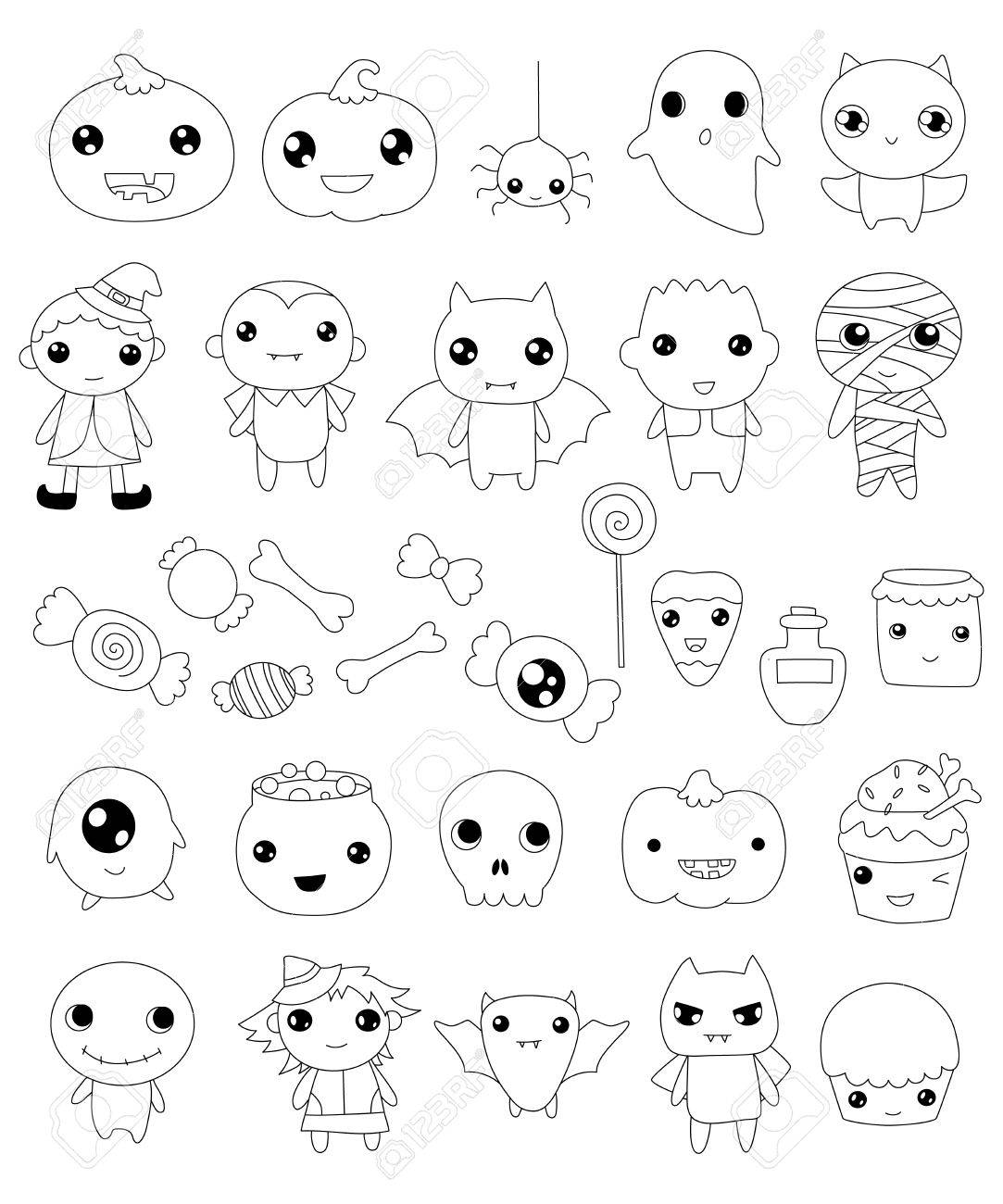 1083x1300 Collection Of Halloween Characters, Halloween Outline Elements