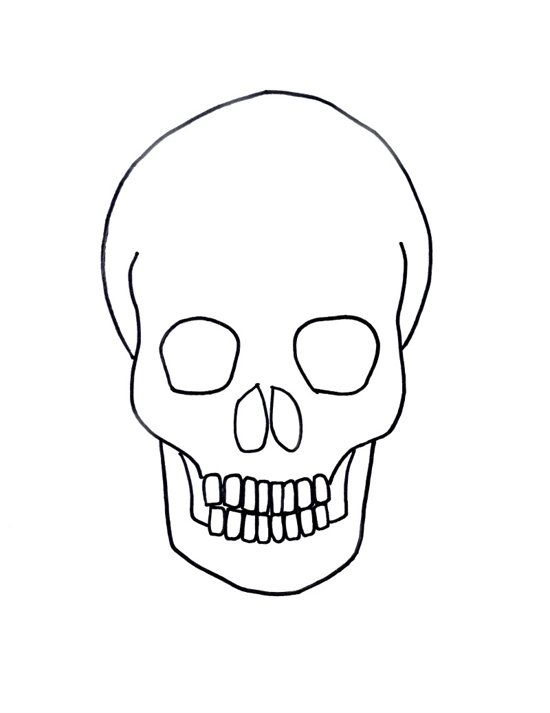 800x1037 gold on black skull drawing for halloween art for kids and robots - Simple Halloween Drawings