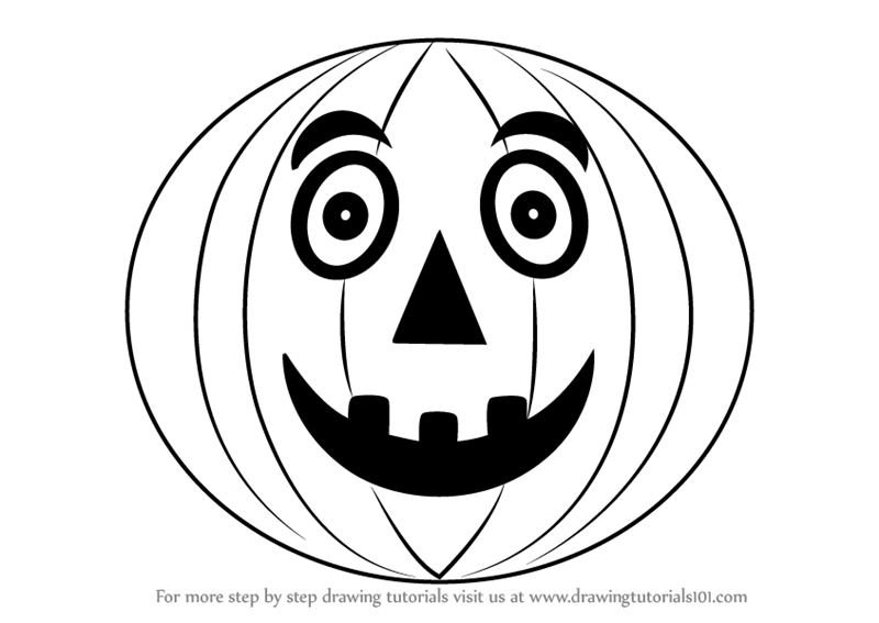 800x567 Learn How To Draw Halloween Pumpkin For Kids (Halloween) Step By