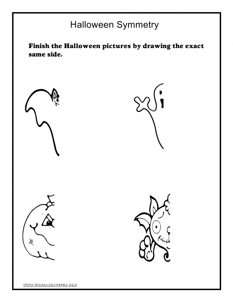 791x1024 Halloween Worksheets, Math, Symmetry, Tracing, Cut And Paste