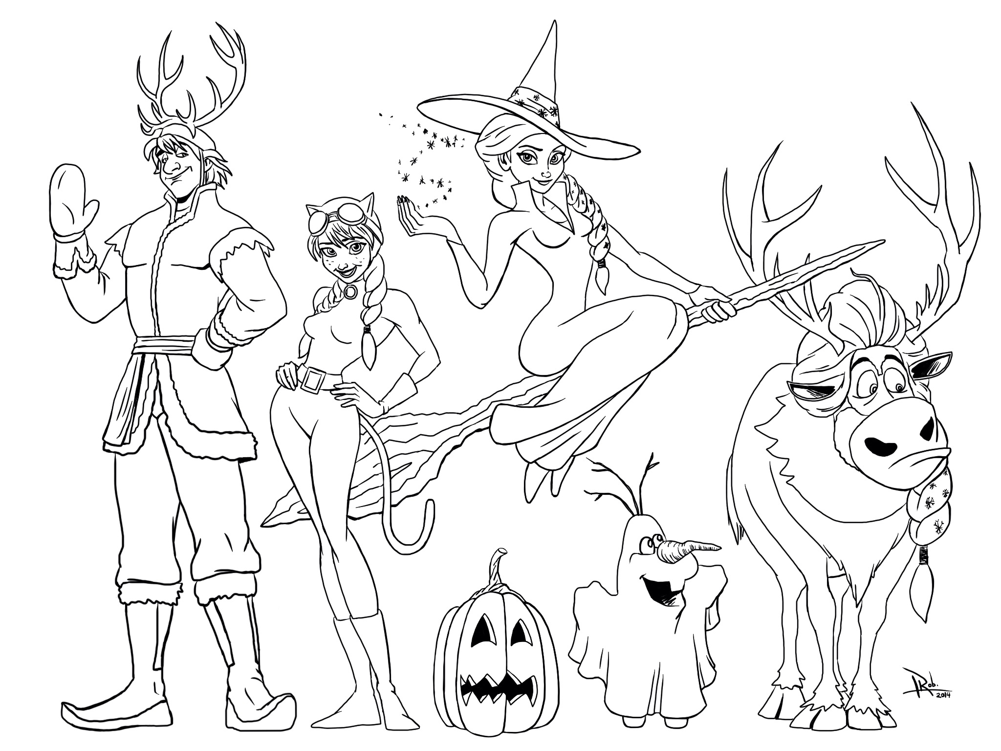 2048x1536 Frozen Halloween Coloring Page