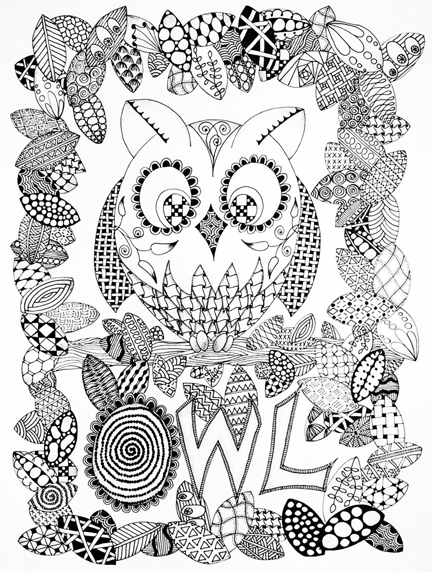 1400x1853 Halloween Zentangle Owl Halloween