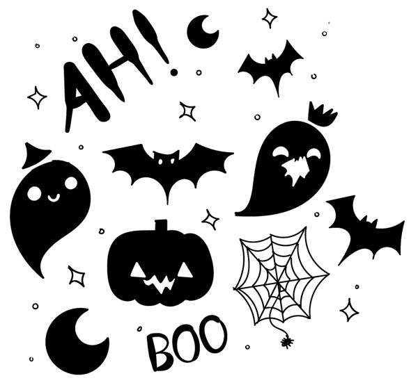 600x564 Boo Filled Hand Drawn Halloween Pattern Vector!