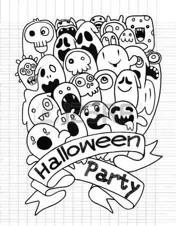 352x450 Hand Drawing Cute Ghost Design, Party Card,suitable For Halloween