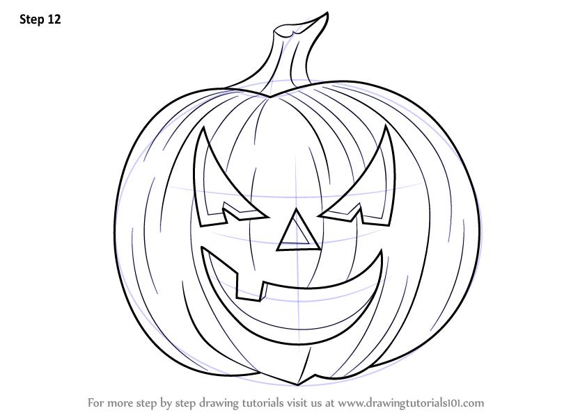 843x597 Learn How To Draw Halloween Pumpkin (Halloween) Step By Step
