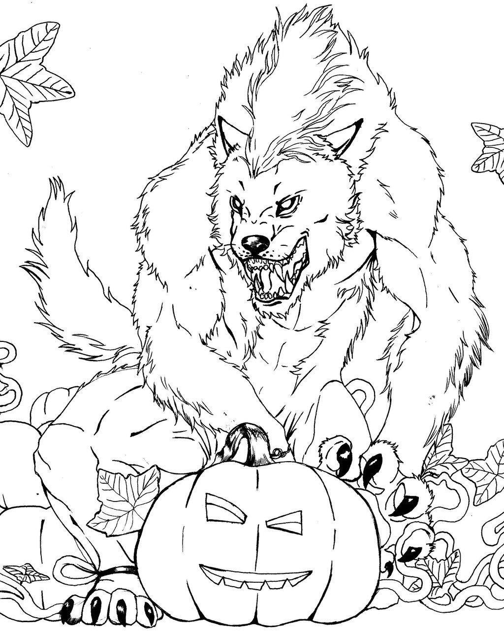 1024x1285 Free Werewolf Coloring Page Lineart Classic Movie Monsters
