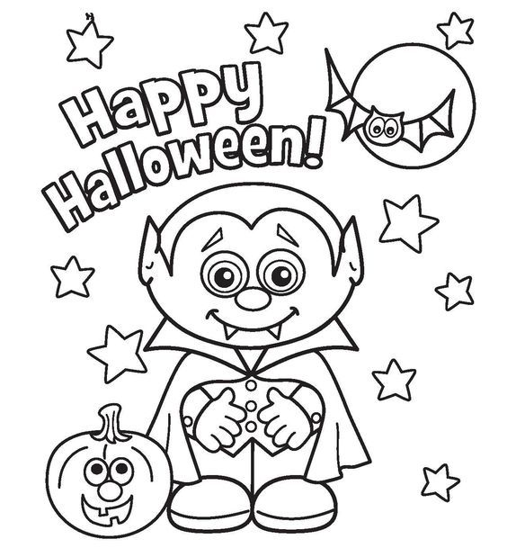 564x619 Free Printable Cute Halloween Drawings Coloring Pictures
