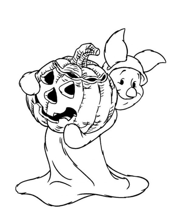 600x700 Piglet Halloween Costume Disney Coloring Pages