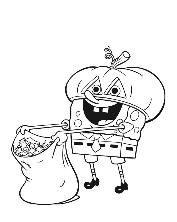 595x745 Awesome Spongebob Halloween Coloring Pages 18 For Free Coloring