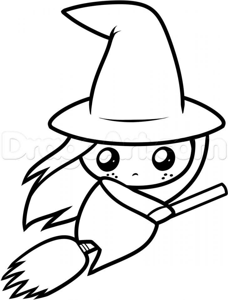 728x955 Halloween ~ Halloween Staggering Easy Drawings How To Draw Cartoon