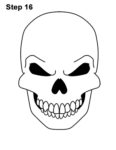 386x500 How To Draw A Skull For Halloween