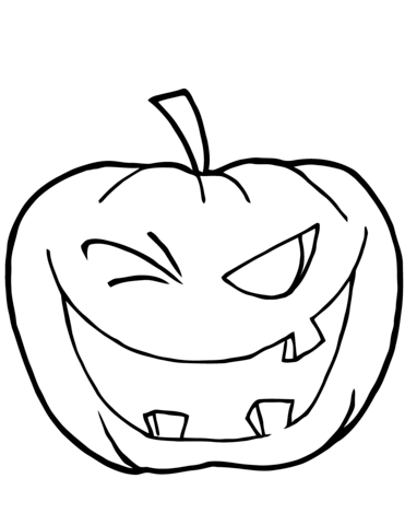 371x480 Halloween Pumpkin Winking Coloring Page Free Printable Coloring