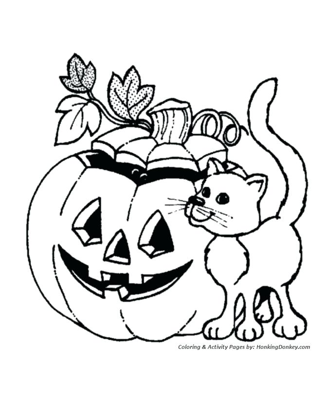670x820 Halloween Coloring Page Pumpkin Coloring Pages Pumpkin And Cat